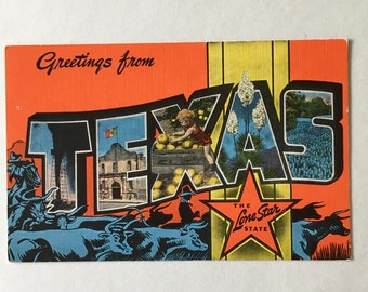 Texas postcard etsy texas postcard vintage greetings from texas large letters souvenir postcard by ec kropp co unused and unposted m4hsunfo