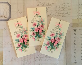 Vintage Tally Cards 8 Norcross NOS Pink Strawberry Bee