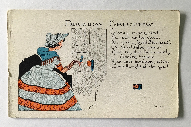 Birthday Postcard Vintage Postcard Old Fashioned Woman Etsy