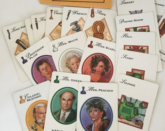CLUE GAME Cards / 21 Vintage Clue Cards Great for Altered Art, Mixed Media, Collage