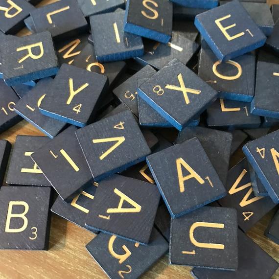 Scrabble Tiles Replacement Letter K Blue Wooden Craft Game Part Piece 50th Ann.
