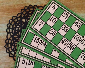 Bingo Cards Green / 10 Vintage French Green Ephemera Lotto Bingo Cards for Altered Art, Mixed Media, Collage, Journals, Scrapbooking