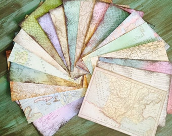 """CardStock Map Pages / 20, 40, 60, or 80 Sheets 4.5"""" x 6.5"""" Uncharted Map Sheets Card stock Paper"""