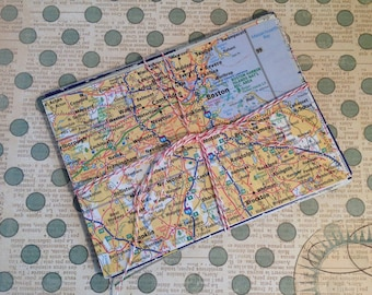 """40 Pc. MAP Scrap Pieces 4.5"""" x 6"""", MAP Paper Pack, U.S. Map Atlas Pages for Altered Art, Collage, Scrapbook"""