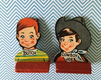 Game Pieces / 2 Vintage Boy Go to the Head of the Class Cardboard game pieces Great for crafts, Mixed Media, etc.