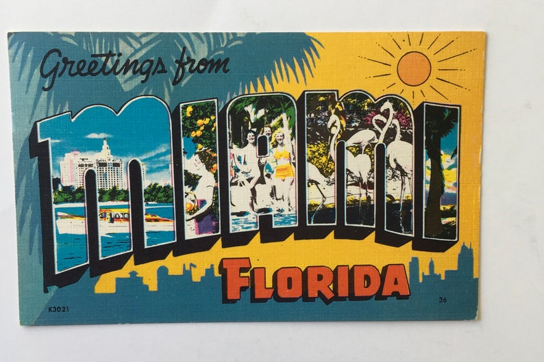 979cdadfa4f9 MIAMI POSTCARD / Vintage MIAMI Large Letters Postcard / C T Art-Colortone  Curteich Linen Postcard Florida used posted 1956