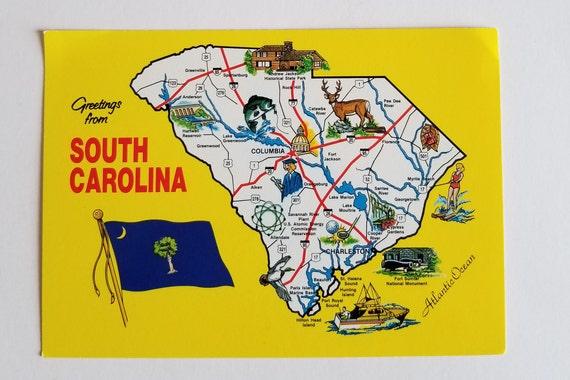 State South Carolina Map.South Carolina Map Postcard Vintage Map Of South Carolina Etsy