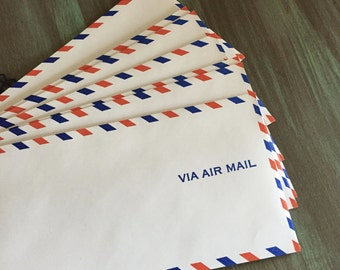 Air Mail Envelopes / 10 Vintage Via Airmail Envelopes #10 for Altered Art, Mixed Media, Journals, Scrapbooks