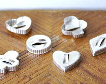 Vintage Cookie Cutter Set, Tart Cutters, Pastry Cutter, Biscuit Cutters, Diamond, Heart, Circle, Clover, Metal Cutters, Fluted Edge, Baking