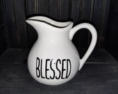 Rae Dunn Inspired Farmhouse quot blessed quot ceramic pitcher