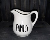 Farmhouse style medium pitcher with quot family quot hand stenciled