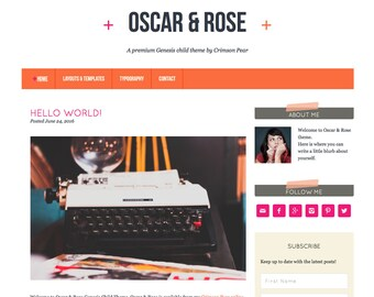 WordPress Theme - Genesis Child Theme - Responsive WordPress Theme - Blog theme template: Oscar & Rose