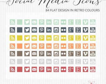 Social media icons - 84 Flat design retro social media icons for blogs and web