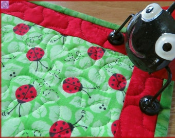 Quilted Mug Rug, Candle Mat, Ladybugs Green, Kitchen Decor, Table Decor 436
