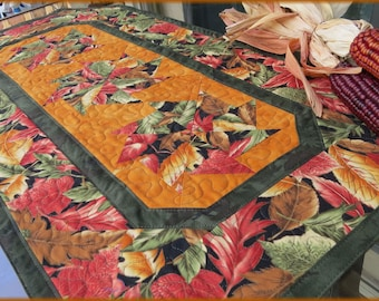 Quilted Table Runner, Autumn Leaves, Kitchen Decor, Fall Table Decor 358a