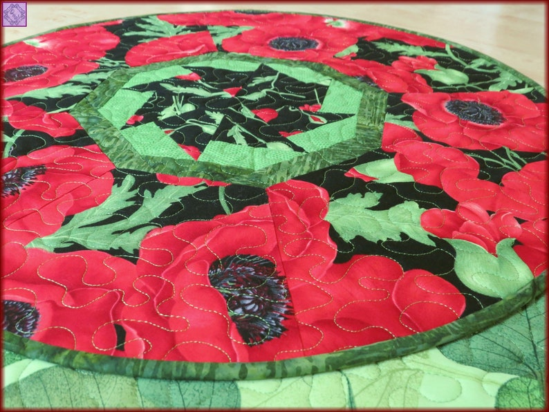 Quilted Round Table Toppers.Round Table Topper Quilted Centerpiece Red Floral Poppies 22 Diameter 578
