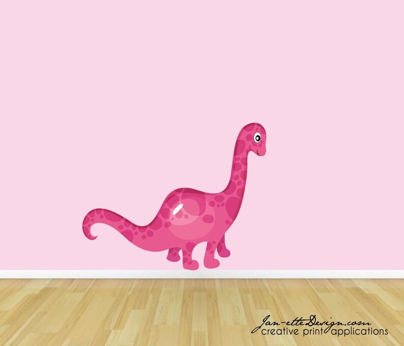 Dinosaur Wall Decal Girls Pink Dinosaur Fabric Wall Decal image 0