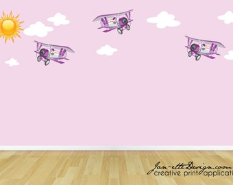 Girls Airplane Fabric Wall Decals,Purple Airplanes with Sun and Clouds Removable Wall Decal Set