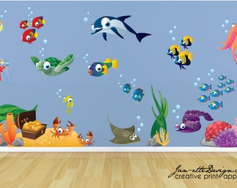 Kids Wall Decals,Fish and Deep Sea Treasure Fabric Wall Decal Set, Under the Sea Stickers, Ocean Wall Art