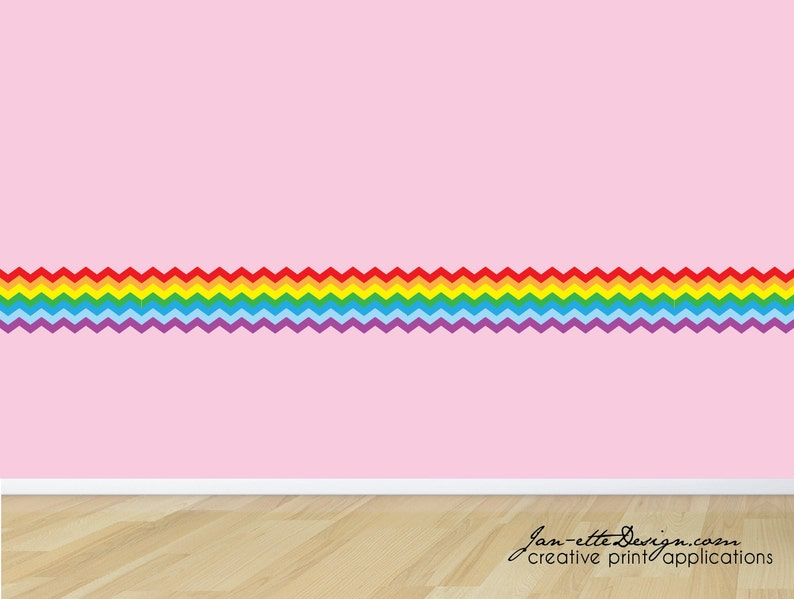 Rainbow Wall Border,Rainbow Chevron Wall Decal Border,Removable Reusable  and Repositionable Fabric Wall Decal