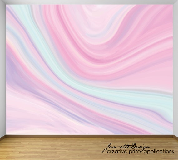 Pastel Rainbow Agate Marble Wall Mural Swirl Rainbow Removable Wallpaper