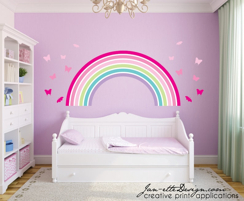 pink rainbow and butterflies wall decal setpink ombre | etsy