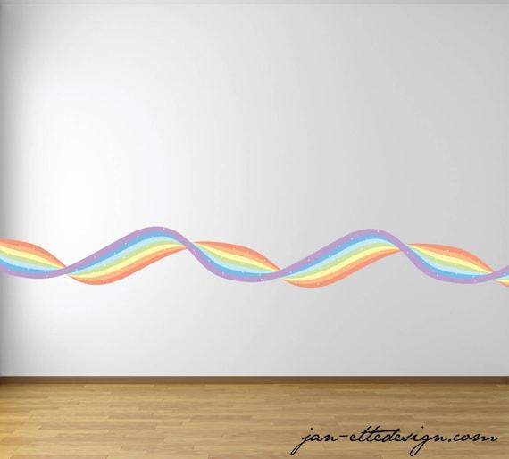 Pastel Rainbow Wall Border Wavy Rainbow Ribbon Wall Border Etsy