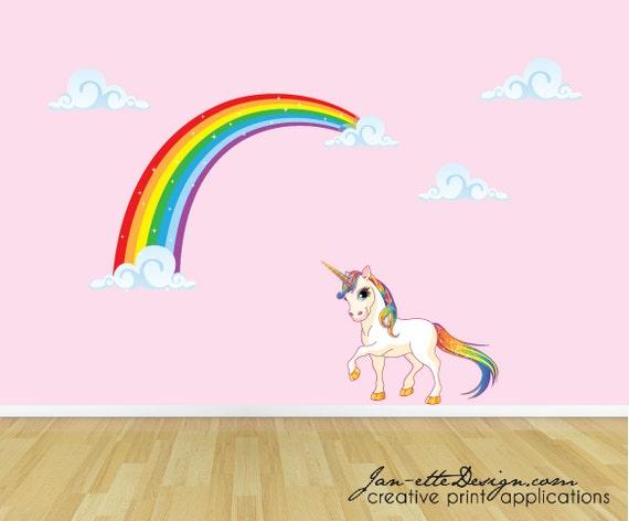 rainbow unicorn wall decal unicorn wall sticker rainbow wall | etsy