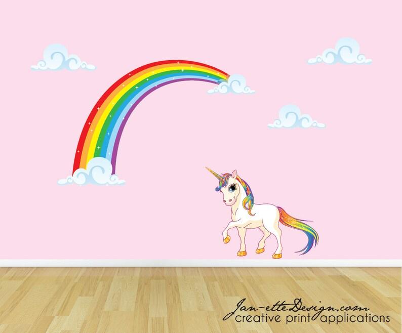 1e46d459951 Rainbow Unicorn Wall Decal Unicorn Wall Sticker Rainbow Wall