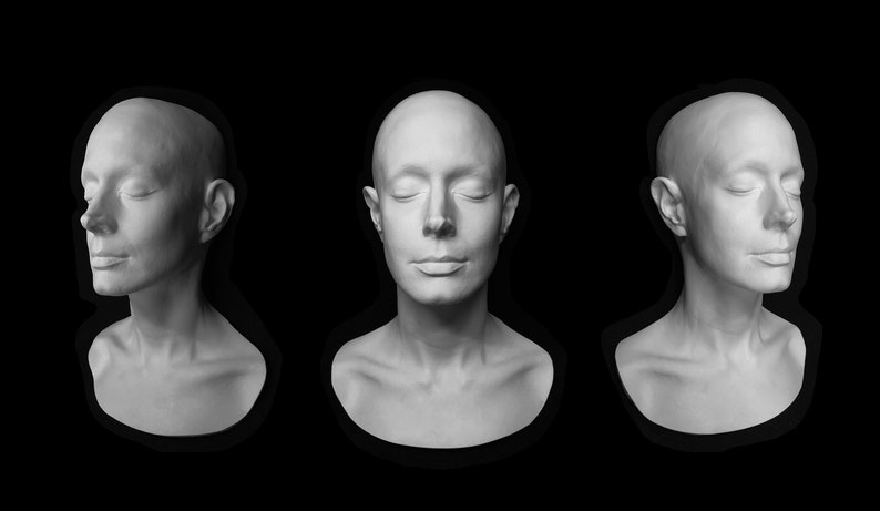 SEAN YOUNG Life Mask Life Cast Lifemask Lifecast face mold prop head 3/4  casting Blade Runner Dune White Plastic Urethane w/metal hanger