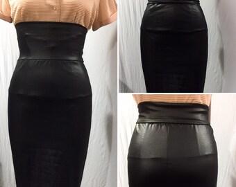 bd5454a4a5a Designer Sample Wet Look Pencil Skirt