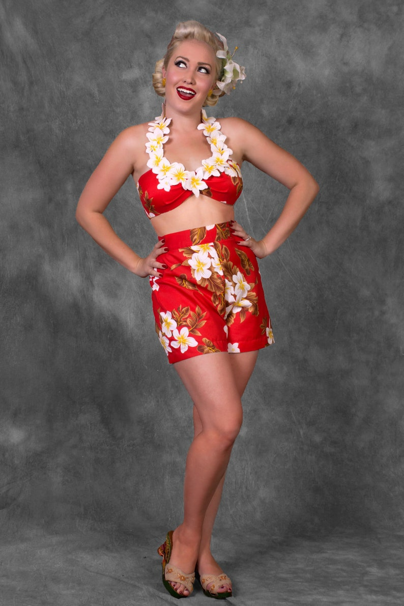 Vintage Rompers, Playsuits | Retro, Pin Up, Rockabilly Playsuits Leilani 2 Piece Playsuit in Red or Green(XS-XL) $149.00 AT vintagedancer.com