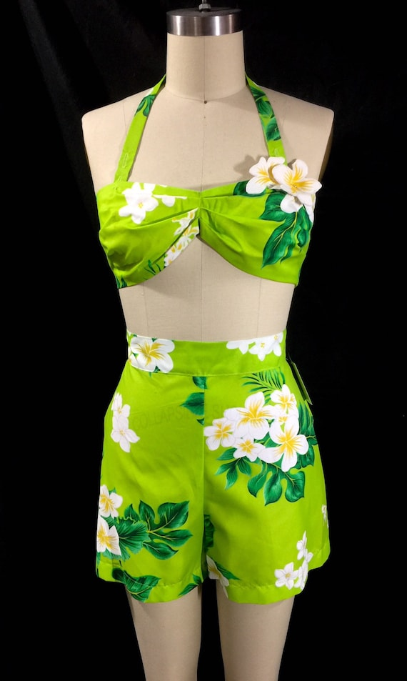 Vintage Rompers | Retro, Pin Up, Rockabilly Playsuits Leilani 2 Piece Playsuit in Green Hawaiian Print $109.00 AT vintagedancer.com