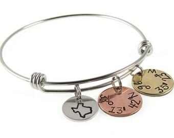 Coordinate Jewelry Coordinates - State Latitude and Longitude GPS Coordinates  Charm Bangle Bracelet  Stainless Steel Bangle