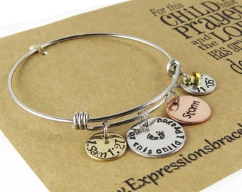 Mother Hand Stamped Baby Name and Date Charm Bangle - 1 Samuel 1:27 - Gifts for Mother - Hand Stamped Jewelry - Stainless Steel Bangle