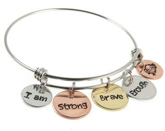 Custom Hand Stamped Bangle   Personalized Word Charm Bracelet   Your Mantra Engraved Charm Bracelets by Expressions Bracelets   Unique Gift