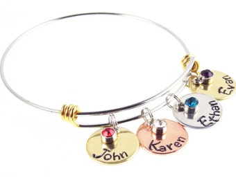 Mother's Day Gift - Birthstone Family - Personalized Gift Children's Names - Hand Stamped Custom Engraved Bracelet - Gifts for Mom