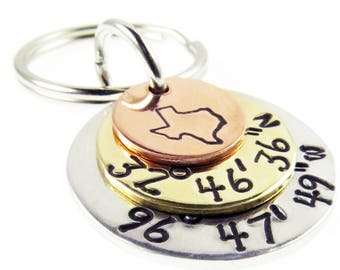Personalized Coordinates Key Chain, Latitude, Longitude, GPS Key Chain, Coordinates Keychain, State Key Chain, Gift For Husband, Wife Gift