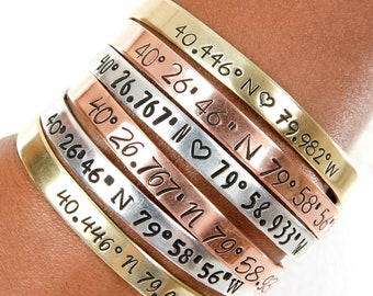 GPS Custom Coordinate Cuff Bracelets, Gifts for Wedding Coordinates , Latitude Longitude, Personalized Hand Stamped Gift, Gifts Under 20