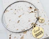 Stacking Charm Bangles Layering Jewelry Goal Digger Girl Boss Dainty Stacking Bangle Inspirational Mantra Quote Bangle Gift for Her Under 20