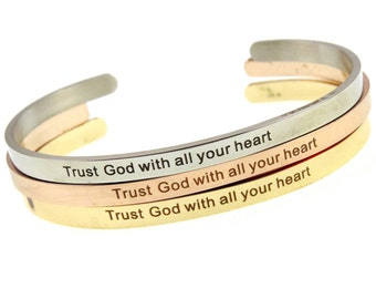 Spiritual Skinny Stacking Bangles | Proverbs 3:5 Trust God | Christian Stainless Steel Cuff |  Religious Jewelry | Gifts for Her Under 10