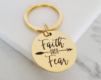Faith Over Fear Keychain   Christian Mantra Gift Ideas   Bible Verse Scripture Religious Gift Key Ring   Zipper Charm Gifts Under 15