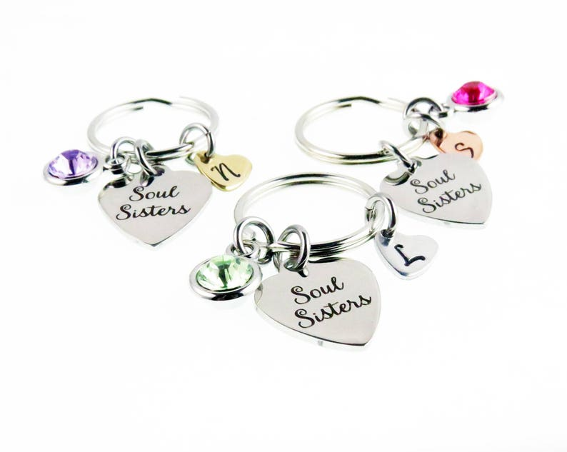 6f2078acf1b96 Soul Sisters Personalized Key Chain - Hand Stamped Charm Zipper Accessory -  Soul Sister - Unique Gifts for Her - expressions bracelets