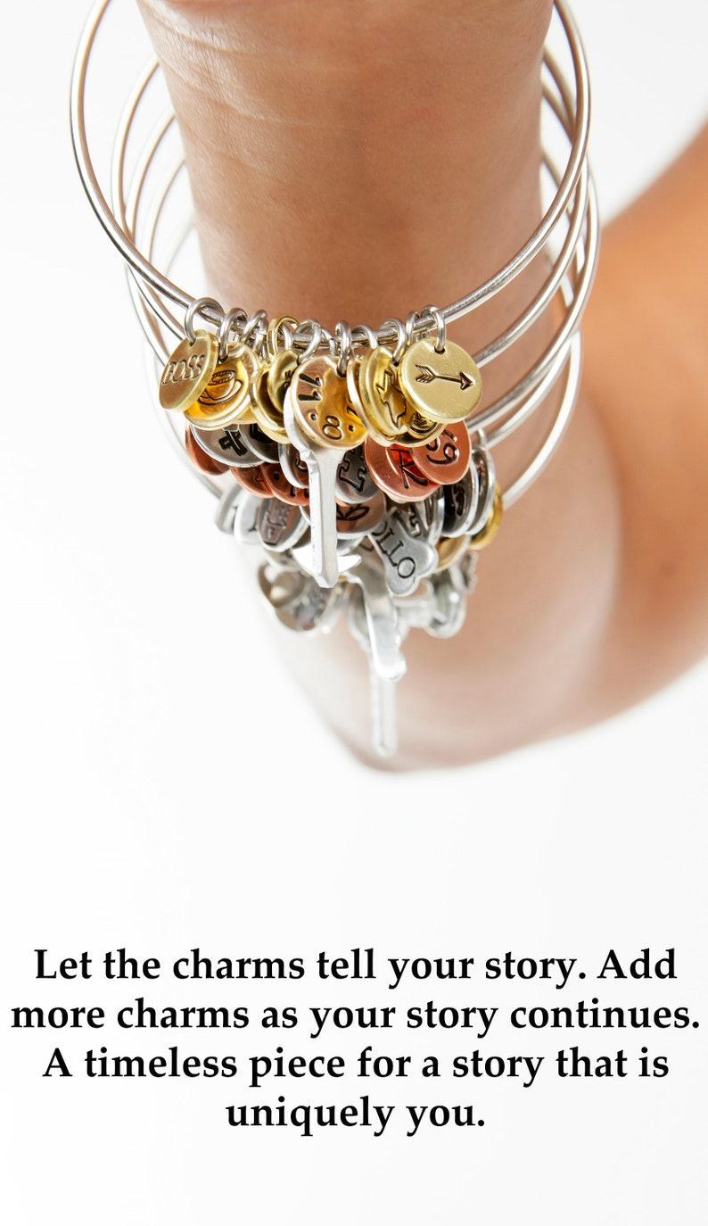 26fa7ea91 Personalized Charm Bangle Bracelet Charm Bracelet | Etsy