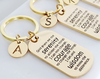 Christian Gifts   Serenity Prayer Gold Personalized Key Chain   Lord's Prayer Gifts Under 15   Sobriety Mantra Token   Gifts for Sobriety