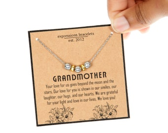 Mother's Day Gifts For Her   Silver Beaded Grandmother's Necklace   Symbol Necklace on Meaningful Card Packaging   Gifts Under 20