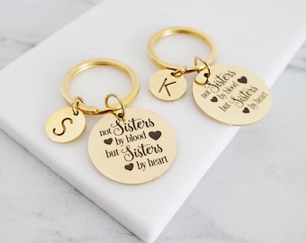 Sisters by Heart   Gifts for Best Friends    Personalized Gold Key Chain   Friendship Symbol Gift   Sisters by Choice Bridesmaids Gifts