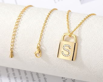 Holiday Gift Ideas for Her   Padlock Initial Gold Dainty Personalized Charm Necklace   Gifts for Sister, Besties, Mom, Aunts, Bridesmaids