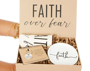 Faith over Fear Inspirational Mantra Gift Box   Religious Mantra Key Chain    White Jewelry and Ring Dish   Christian Inspired Gift Sets