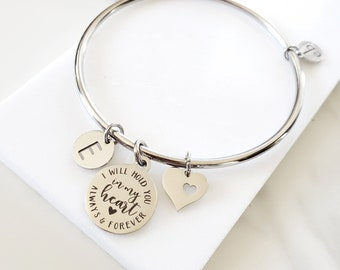 In Memory of Grief Gift Loss of Loved One   Silver Charm Bangle Personalized Initial Memorial Jewelry Gift for Her Custom Grief Gift Custom